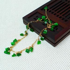 缅甸老坑A货翡翠14k金镶嵌冰润满绿精美手链