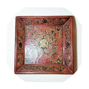 民国时期方形描金彩绘漆盘