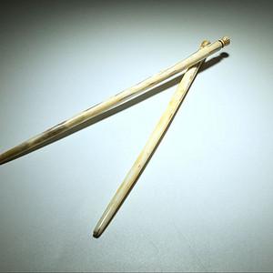 金牌 虬角 筷子 一对 手工打造 包浆熟润 笑纹漂亮