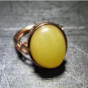 金牌 天然 鸡油黄蜜蜡 彩金 戒指 活口 甚是漂亮