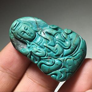 金牌 有些年份 原矿 绿松石 高蓝 观音 挂件 手工雕刻