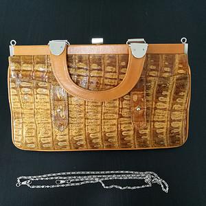 金牌 德国原工鳄鱼皮 牛皮女用背包 手提包