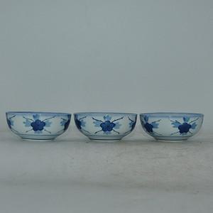日本高山款青花瓷碗三个