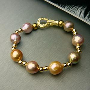 金牌 天然巴洛克珍珠手链 绝无染色
