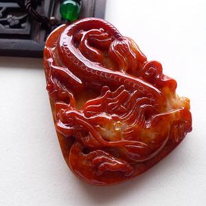 A货翡翠冰糯种褐红色龙牌63.50g
