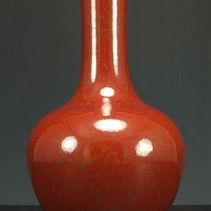 国外回流 红釉 天球瓶