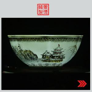 景德镇文革老厂货瓷 精品收藏 全手工彩绘雪景图薄胎碗