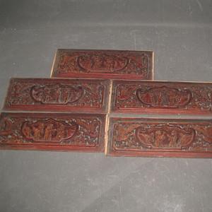 一套楠木人物雕刻板
