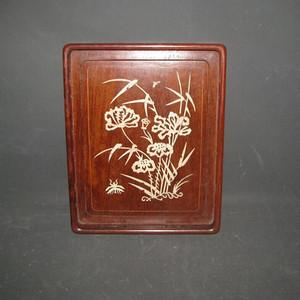 花梨木嵌骨茶盘