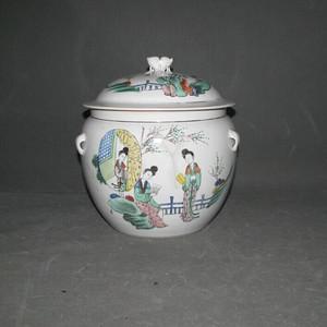 民国粉彩人物粥罐