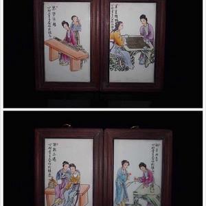 民国时期王大凡款粉彩琴棋书画瓷板画一套