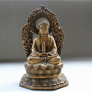 铜   镂空背光释迦牟尼佛