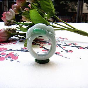 证  鼠来宝阳绿翡翠戒指
