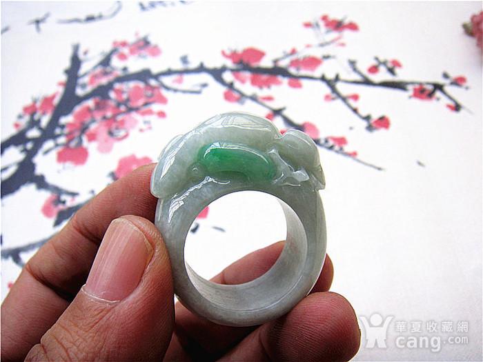 证  鼠来宝阳绿翡翠戒指图5