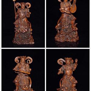 民国时期黄杨木精雕四大天王人物摆件一套