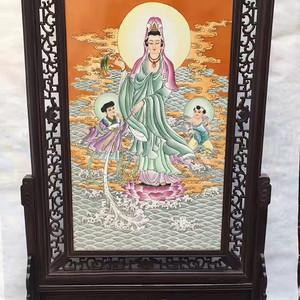 极品老货檀木镶瓷板中堂画 南海观世音