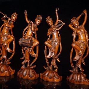 民国时期珍藏级黄杨木精雕四大美女摆件