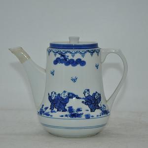 日本人物青花茶壶