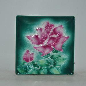 日本铜胎七宝烧花卉方盘