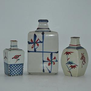 日本粉彩花瓶三个