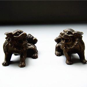 铜  文房狮子小摆件 对