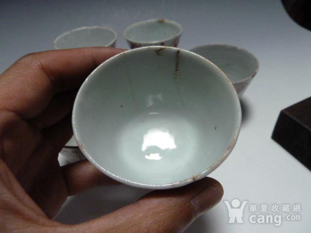 晚清 矾红寿字杯5个图8