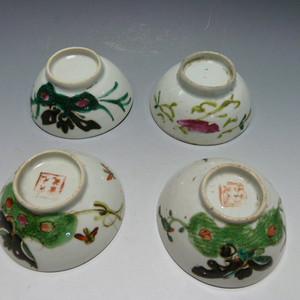 民国粉彩茶碗4个