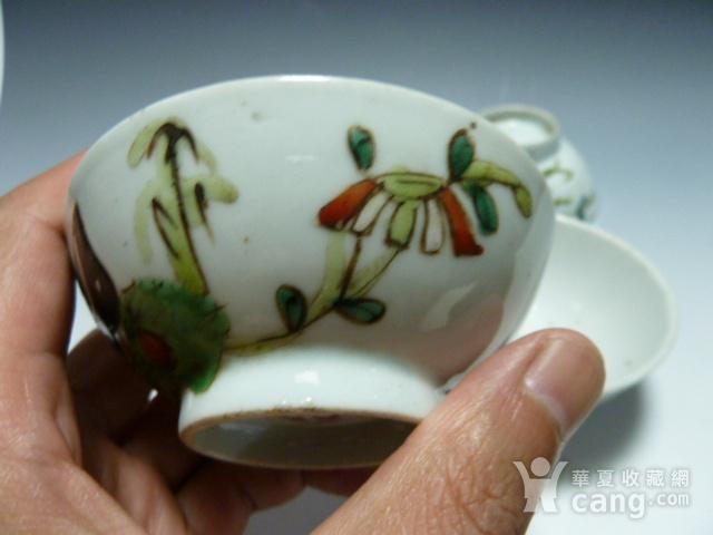 民国粉彩茶碗4个图4