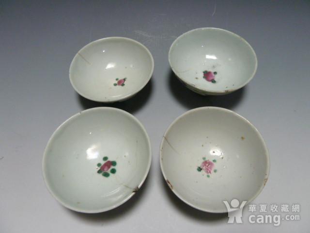 民国粉彩茶碗4个图5