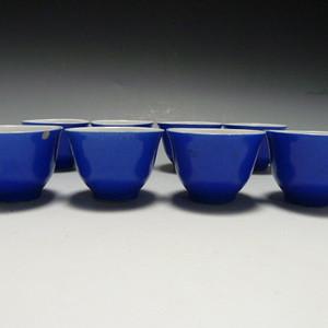 民国蓝釉小杯8个