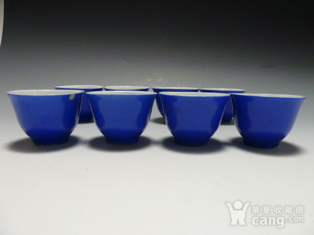 民国蓝釉小杯8个图1