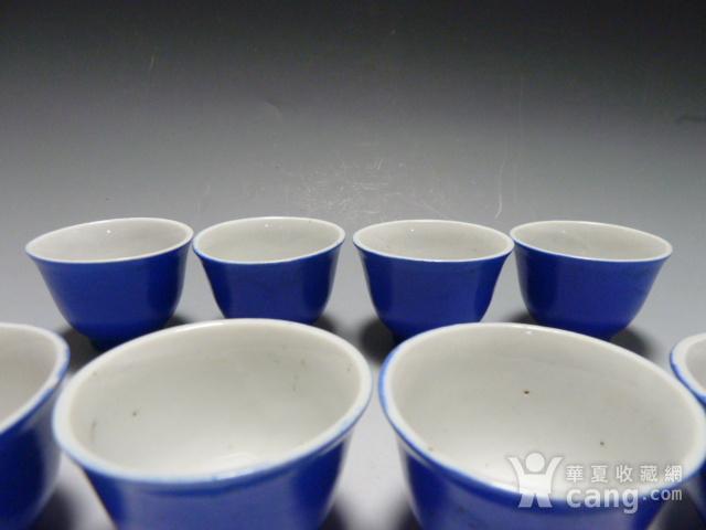 民国蓝釉小杯8个图2