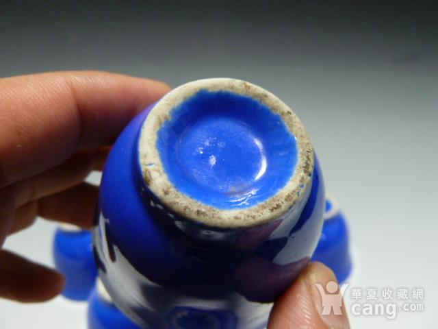 民国蓝釉小杯8个图6