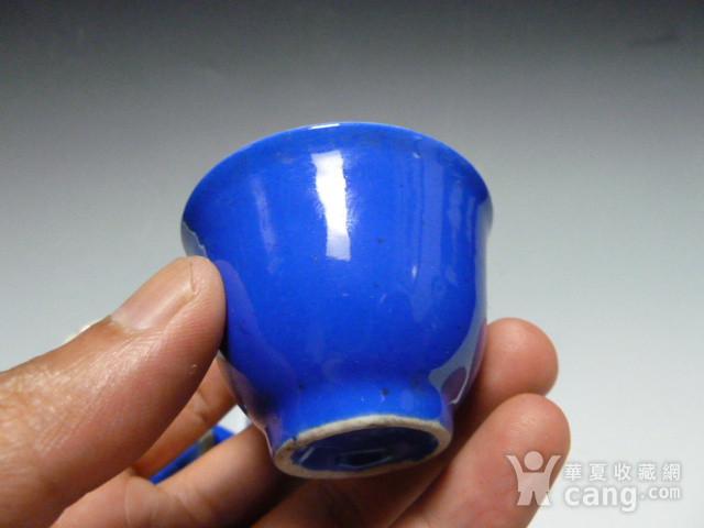 民国蓝釉小杯8个图7