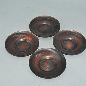 日本茶道纯铜刻花托盘四个
