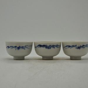 日本青花小茶碗三个