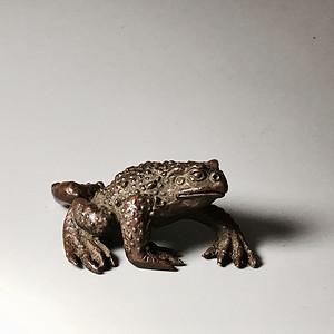 日本回流 包老百年的铜金蟾一只