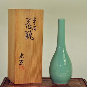 日本华顶嘉光款绿釉花瓶