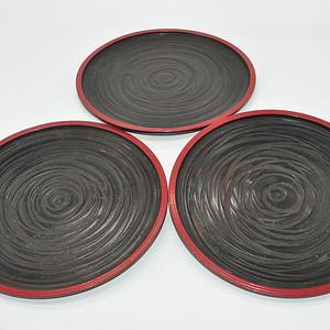 日本高松漆器木托盘三个