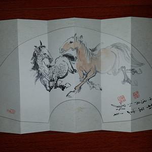 联盟 《已双重鉴定》著名画家 江野:前程万里图《双马图册页本》