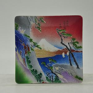 日本铜胎七宝烧方碟