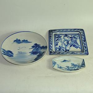 日本青花瓷盘三个