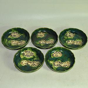 乐山绿釉瓷碟五件套