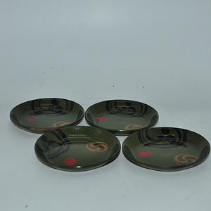 日本漆器茶托四个