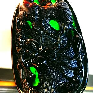 透光正阳绿精品墨翠!天然缅甸A货翡翠老坑种浓黑墨翠富贵龙鱼