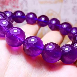 浓正葡萄紫!乌拉圭纯天然紫水晶13MM圆珠手串!爱情紫晶!