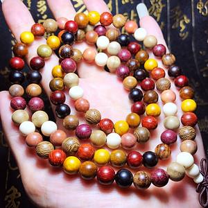 9种天然原木多宝串金丝楠红豆杉紫罗兰108佛珠手串