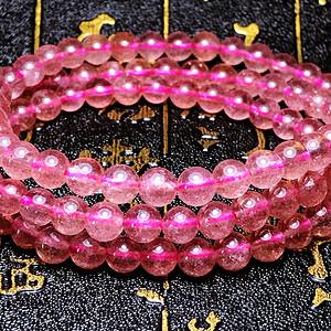 粉嫩小清新!纯天然草莓晶粉红草莓士多啤梨水晶圆珠多圈手链