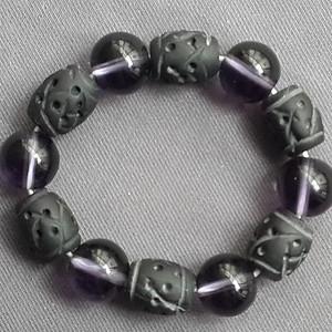 紫水晶煤精组合手链