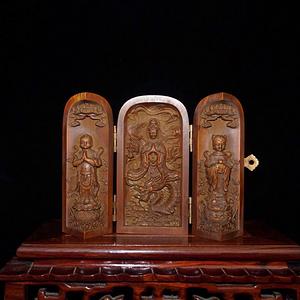晚清民国时期精工级黄杨木精雕童子拜观音三开佛龛